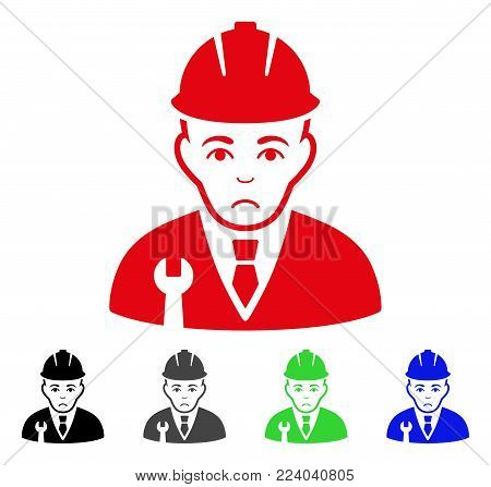 Sad Developer vector pictogram. Vector illustration style is a flat iconic developer symbol with gray, black, blue, red, green color versions. Face has depressed emotions.
