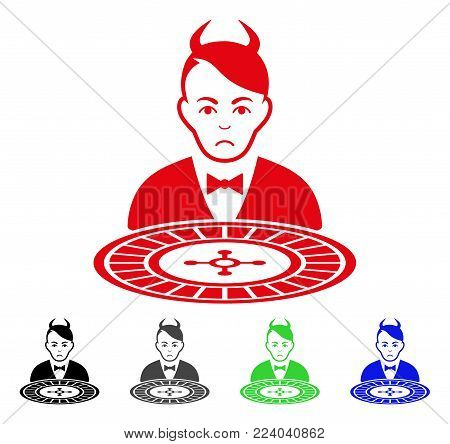 Unhappy Devil Roulette Dealer vector pictograph. Vector illustration style is a flat iconic devil roulette dealer symbol with gray, black, blue, red, green color variants. Face has dolor emotions.
