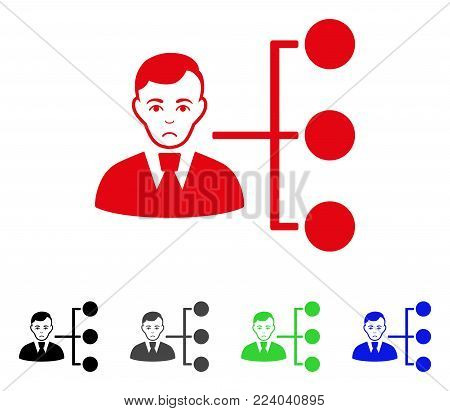 Unhappy Distribution Manager vector icon. Vector illustration style is a flat iconic distribution manager symbol with gray, black, blue, red, green color variants. Face has mourning expression.