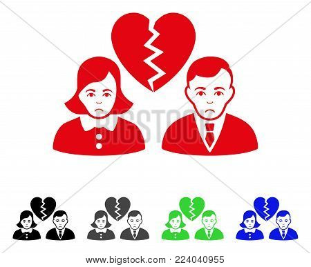 Dolor Divorce People vector icon. Vector illustration style is a flat iconic divorce people symbol with grey, black, blue, red, green color versions. Face has dolor emotions.