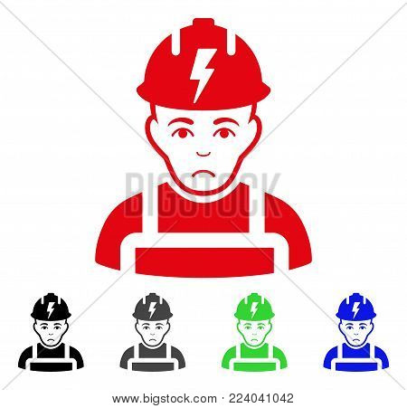 Sadly Electrician vector pictogram. Vector illustration style is a flat iconic electrician symbol with gray, black, blue, red, green color versions. Face has sorrow expression.