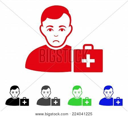Dolor First-Aid Man vector icon. Vector illustration style is a flat iconic first-aid man symbol with gray, black, blue, red, green color variants. Face has sadness feeling.