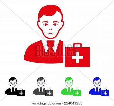 Unhappy First-Aid Manager vector pictograph. Vector illustration style is a flat iconic first-aid manager symbol with grey, black, blue, red, green color versions. Face has problem emotion.