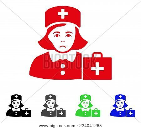 Dolor First-Aid Nurse vector pictogram. Vector illustration style is a flat iconic first-aid nurse symbol with gray, black, blue, red, green color variants. Face has dolour emotion.