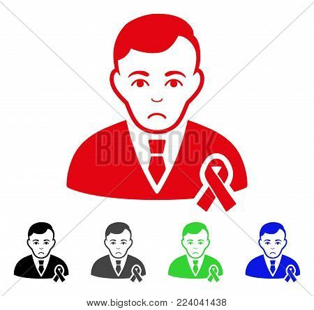 Pitiful Gentleman With Mourning Ribbon vector pictogram. Vector illustration style is a flat iconic gentleman with mourning ribbon symbol with gray, black, blue, red, green color variants.