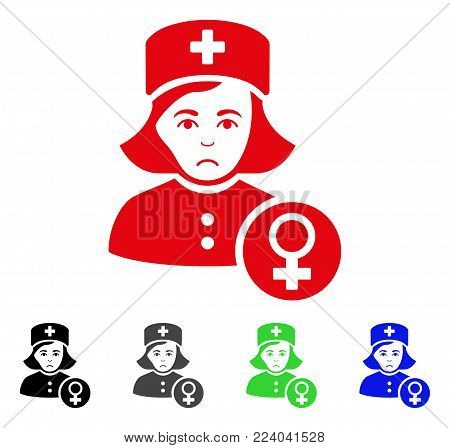 Dolor Gynecologist Lady Doctor vector pictogram. Vector illustration style is a flat iconic gynecologist lady doctor symbol with grey, black, blue, red, green color versions. Face has dolor feeling.