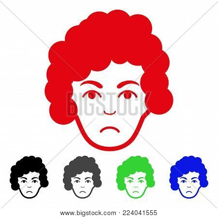 Pitiful Hairstyle Head vector pictograph. Vector illustration style is a flat iconic hairstyle head symbol with grey, black, blue, red, green color versions. Face has stress expression.