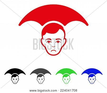 Unhappy Head Umbrella vector pictograph. Vector illustration style is a flat iconic head umbrella symbol with grey, black, blue, red, green color versions. Face has sorrow sentiment.