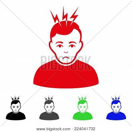 Dolor Headache vector pictogram. Vector illustration style is a flat iconic headache symbol with grey, black, blue, red, green color versions. Face has problem feeling.