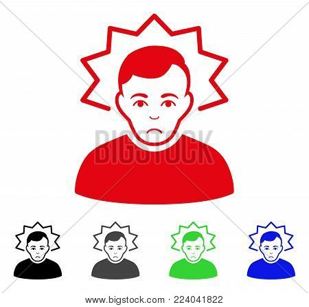 Dolor Inventor vector pictograph. Vector illustration style is a flat iconic inventor symbol with grey, black, blue, red, green color variants. Face has desperate mood.