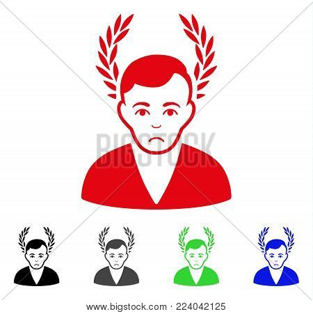 Unhappy Man Glory vector pictograph. Vector illustration style is a flat iconic man glory symbol with grey, black, blue, red, green color versions. Face has unhappy expression.