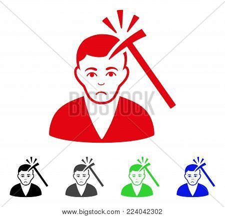 Sadly Murder With Hammer vector pictograph. Vector illustration style is a flat iconic murder with hammer symbol with grey, black, blue, red, green color variants. Face has grief expression.