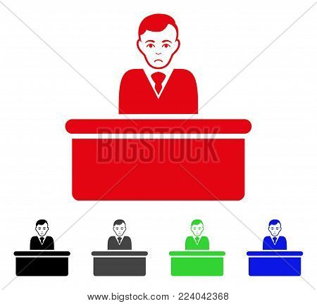 Unhappy Office Clerk vector pictogram. Vector illustration style is a flat iconic office clerk symbol with grey, black, blue, red, green color versions. Face has unhappy mood.