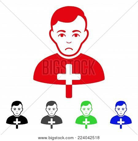 Dolor Orthodox Priest vector icon. Vector illustration style is a flat iconic orthodox priest symbol with grey, black, blue, red, green color versions. Face has depression expression.