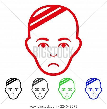 Sad Patient Head vector icon. Vector illustration style is a flat iconic patient head symbol with grey, black, blue, red, green color variants. Face has unhappy emotions.
