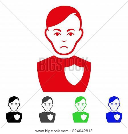 Pitiful Police Officer vector pictograph. Vector illustration style is a flat iconic police officer symbol with grey, black, blue, red, green color versions. Face has dolor expression.