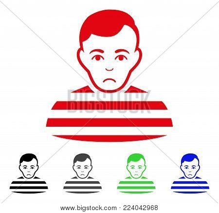 Dolor Prisoner vector pictogram. Vector illustration style is a flat iconic prisoner symbol with gray, black, blue, red, green color versions. Face has sad sentiment.