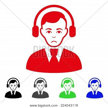 Sad Radio Operator vector pictogram. Vector illustration style is a flat iconic radio operator symbol with gray, black, blue, red, green color versions. Face has sadness mood.
