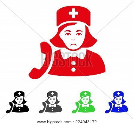 Sad Receptionist Nurse vector icon. Vector illustration style is a flat iconic receptionist nurse symbol with grey, black, blue, red, green color versions. Face has affliction emotions.