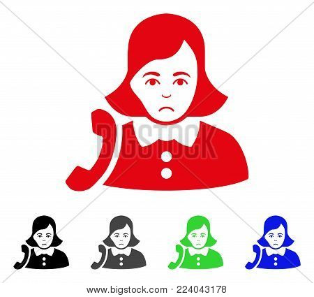 Dolor Receptionist Woman vector pictograph. Vector illustration style is a flat iconic receptionist woman symbol with gray, black, blue, red, green color versions. Face has affliction emotion.