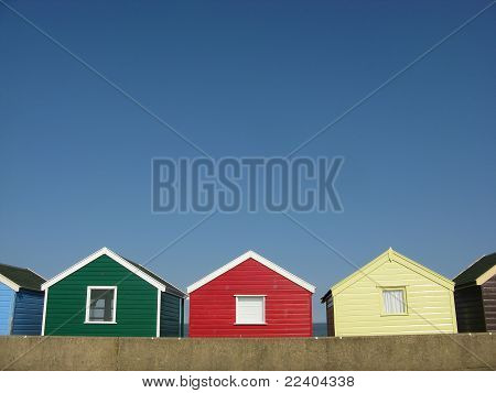 Bright Beach Huts In England