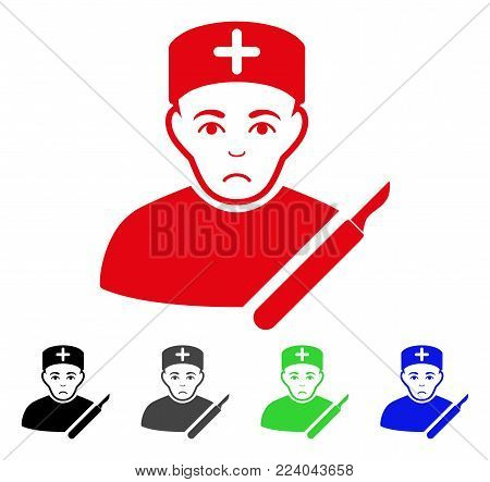 Sadly Surgeon vector icon. Vector illustration style is a flat iconic surgeon symbol with gray, black, blue, red, green color variants. Face has sorrow emotion.