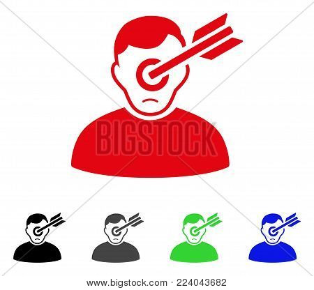 Sad Target Man vector icon. Vector illustration style is a flat iconic target man symbol with gray, black, blue, red, green color variants. Face has sad feeling.