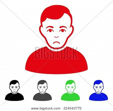Dolor User vector pictograph. Vector illustration style is a flat iconic user symbol with grey, black, blue, red, green color variants. Face has desperate expression.
