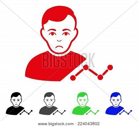 Dolor User Chart vector icon. Vector illustration style is a flat iconic user chart symbol with grey, black, blue, red, green color variants. Face has desperate expression.