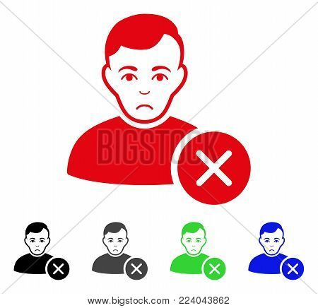 Unhappy User Delete vector icon. Vector illustration style is a flat iconic user delete symbol with gray, black, blue, red, green color variants. Face has unhappy feeling.