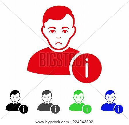 Unhappy User Info vector pictograph. Vector illustration style is a flat iconic user info symbol with gray, black, blue, red, green color versions. Face has desperate expression.