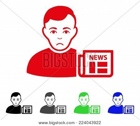 Dolor User News vector pictogram. Vector illustration style is a flat iconic user news symbol with grey, black, blue, red, green color variants. Face has sad sentiment.