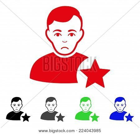 Sadly User Rating Star vector icon. Vector illustration style is a flat iconic user rating star symbol with gray, black, blue, red, green color variants. Face has affliction emotion.