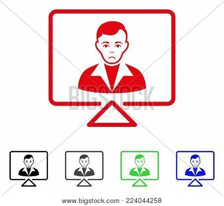 Dolor Video Contact vector pictogram. Vector illustration style is a flat iconic video contact symbol with gray, black, blue, red, green color variants. Face has dolor emotions.