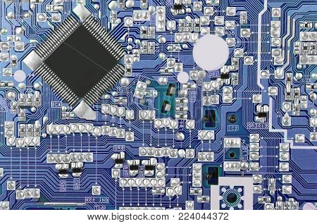 Close up of printed blue circuit board