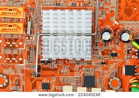 Orange Computer Motherboard