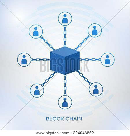 Blockchain technology concept. Cubic nodes connected by chain. Isometric vector illustration of distributed database for cryptography, virtual money, secure e-business or web security.