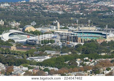 Sydney, Australia - May 16, 2017: Sydney Football Stadium, SFS and Sydney Cricket Ground, SCG. They are sports stadiums in Sydney used for cricket , Australian rules football, rugby and soccer.