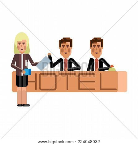 European receptionists at hotel reception desk. Corporate business people isolated vector illustration.