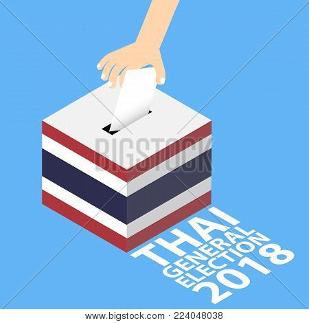 Thai General Election 2018 Vector Illustration Flat Style - Hand Putting Voting Paper in the Ballot Box