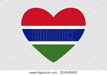 Heart of the colors of the flag of Gambia, vector