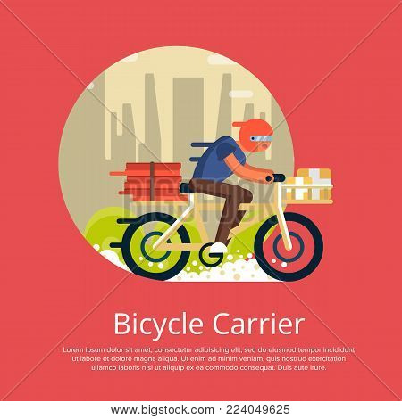 Fast food delivery poster with courier man ride bicycle on cityscape background. Ordering take away food and delivery to customer door vector illustration. Restaurant advertising for food service.