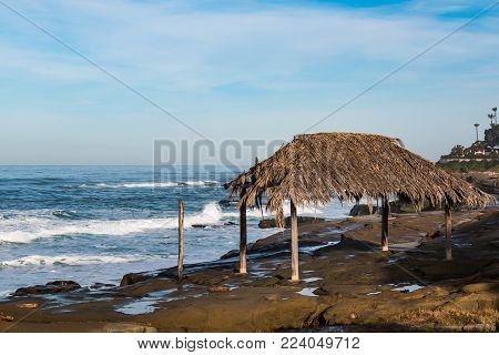 A historical landmark, the surfer shack on Windansea Beach in La Jolla, California.