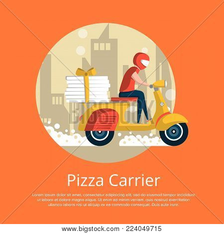 Pizza carrier service poster with courier man ride scooter on cityscape background. Restaurant advertising for online ordering take away food and express delivery to customer door vector illustration