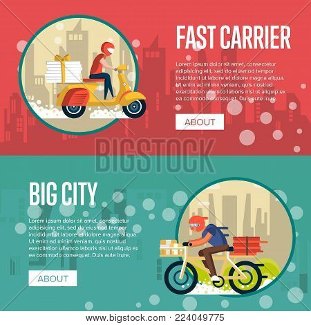 Food carrier service posters with couriers rides bicycle and scooter in city. Restaurant advertising for online ordering take away food and express delivery to customer door vector illustration.