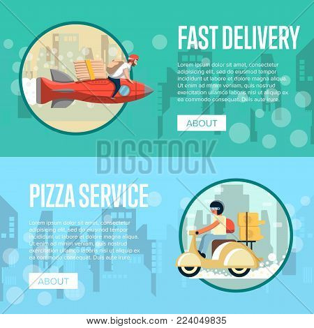 Pizza carrier service posters with couriers rides rocket and scooter in city. Restaurant advertising for online ordering take away fast food and express delivery to customer door vector illustration.