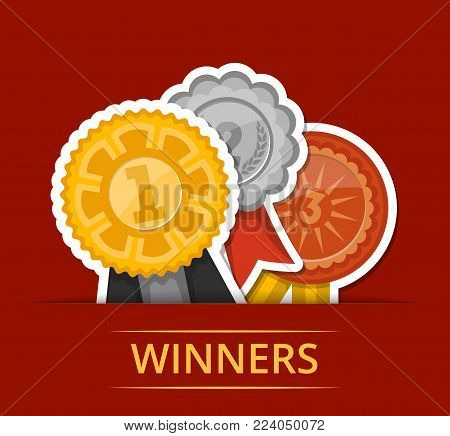 First, second and third place medals with ribbons. Championship awards ceremony banner, grand trophy vector illustration. Sport competition event, favorite prize symbol, victory celebration poster.