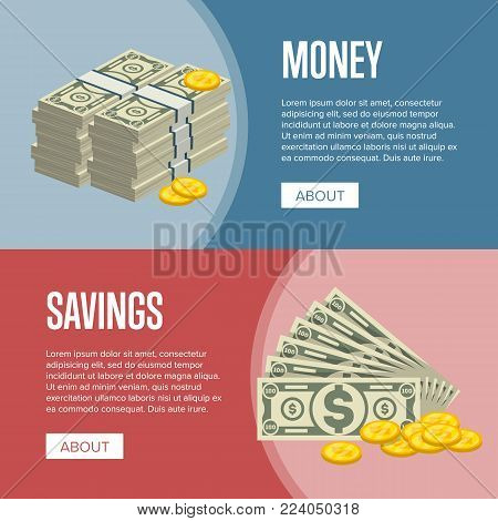 Making money and savings flyers with paper banknotes and golden coins in cartoon style. Financial safety and cash security, banking services and online money transaction vector illustration.