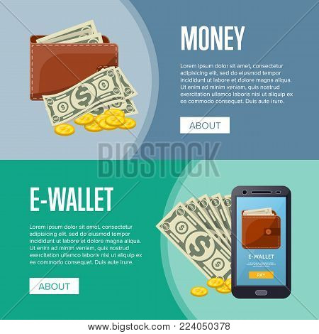 Money income and online wallet flyers with paper banknotes and golden coins in cartoon style. Financial safety and cash security, e-commerce and internet money transaction vector illustration.