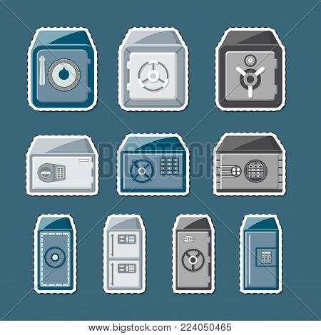 Metallic safe box with closed door and buttons of electronic combination lock labels set. Money storage, financial safety, cash security, steel bank deposit box isolated vector illustration.